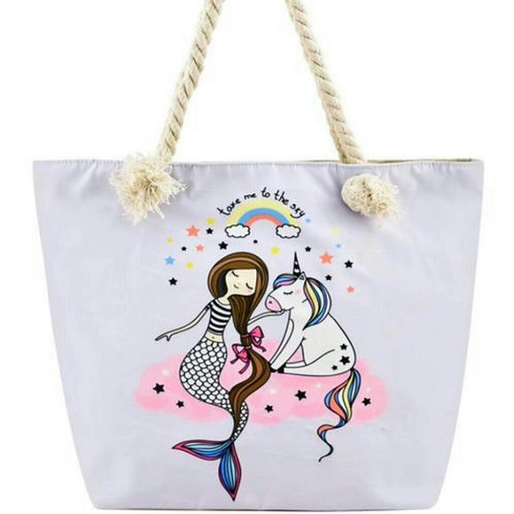 947537fb6 CANVAS TOTE BAGS Bags | Designer Mermaid Canvas Tote Bag | Poshmark